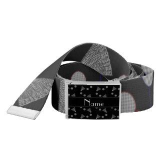 Personalized name black badminton pattern belt