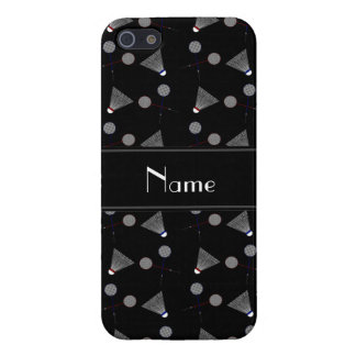 Personalized name black badminton pattern cases for iPhone 5