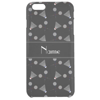 Personalized name black badminton pattern uncommon clearly™ deflector iPhone 6 plus case