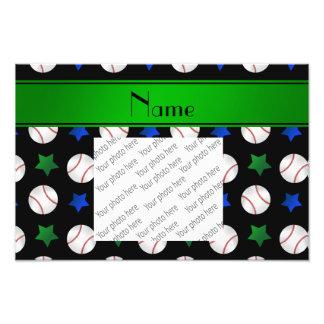 Personalized name black baseball blue green stars photo print