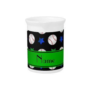 Personalized name black baseball blue green stars beverage pitcher