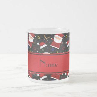 Personalized name black baseball christmas 10 oz frosted glass coffee mug