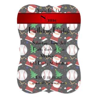 Personalized name black baseball christmas 5x7 paper invitation card
