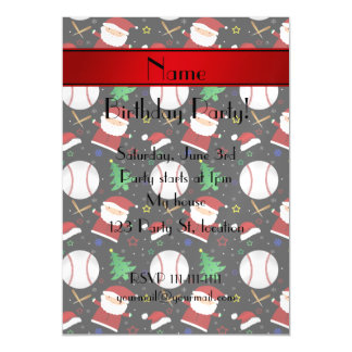 Personalized name black baseball christmas magnetic invitations