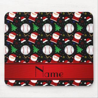 Personalized name black baseball christmas mouse pad