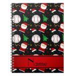 Personalized name black baseball christmas spiral notebooks