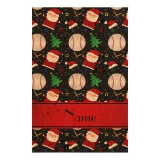 Personalized name black baseball christmas cork fabric