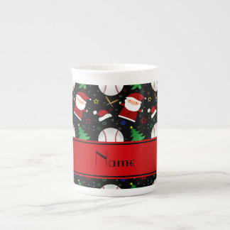 Personalized name black baseball christmas tea cup