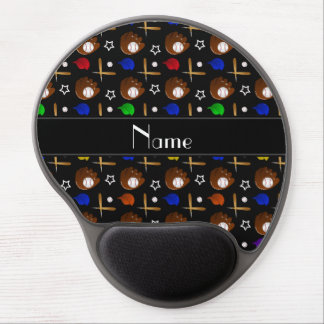 Personalized name black baseball glove hats balls gel mouse pad