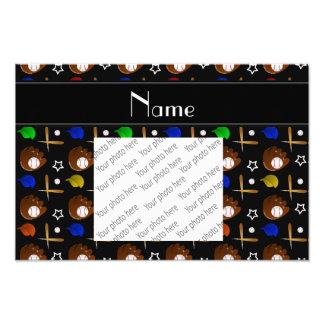 Personalized name black baseball glove hats balls photo print