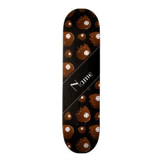 Personalized name black baseball gloves balls skateboard deck