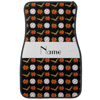 Personalized name black baseball pattern car floor mat