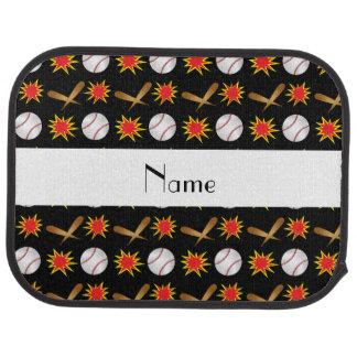 Personalized name black baseball pattern car mat