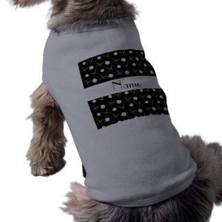 Personalized name black baseballs dog clothes