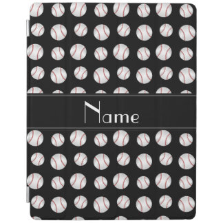 Personalized name black baseballs iPad smart cover