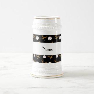 Personalized name black baseballs mugs