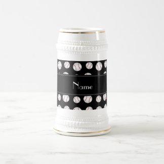 Personalized name black baseballs pattern mug