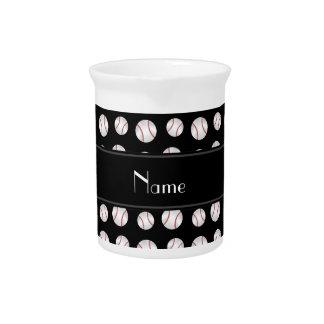 Personalized name black baseballs pattern beverage pitcher