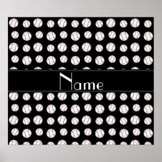 Personalized name black baseballs pattern posters