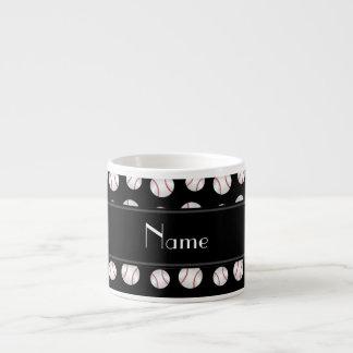Personalized name black baseballs pattern espresso cups