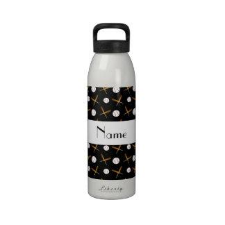 Personalized name black baseballs reusable water bottle
