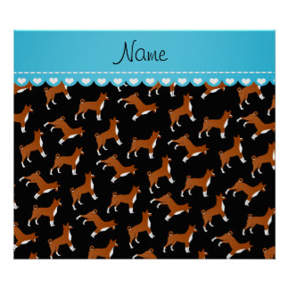 Personalized name black basenji dogs poster