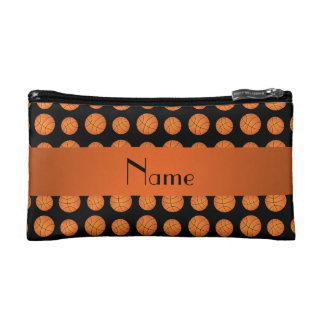 Personalized name black basketballs cosmetic bag