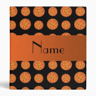 Personalized name black basketballs 3 ring binder