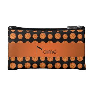Personalized name black basketballs cosmetic bag