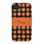 Personalized name black basketballs iPhone 4 cases