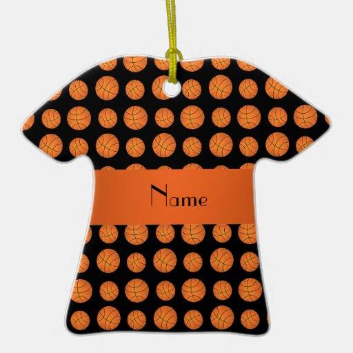Personalized name black basketballs christmas ornaments