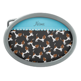 Personalized name black basset hound dogs oval belt buckles