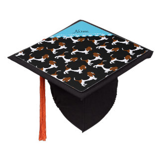 Personalized name black basset hound dogs graduation cap topper