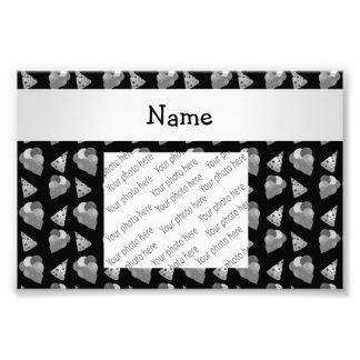 Personalized name black birthday pattern photographic print