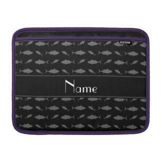 Personalized name black bluefin tuna pattern MacBook sleeves