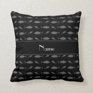 Personalized name black bluefin tuna pattern throw pillow