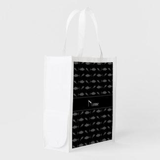 Personalized name black bluefin tuna pattern grocery bag