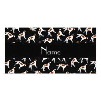 Personalized name black borzoi dog pattern photo card