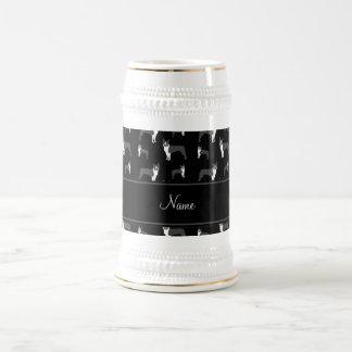 Personalized name black boston terrier mugs