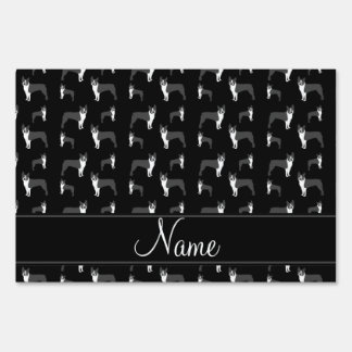 Personalized name black boston terrier yard sign