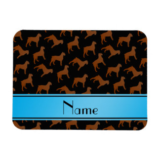 Personalized name black Bouvier des Flandres dogs Rectangular Photo Magnet