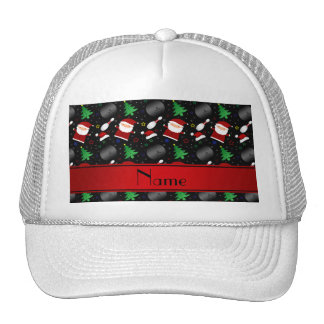 Personalized name black bowling christmas pattern trucker hat