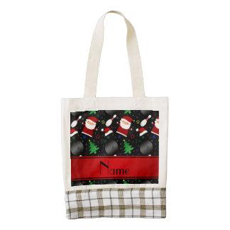Personalized name black bowling christmas pattern zazzle HEART tote bag