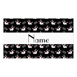 Personalized name black bowling pattern business card template