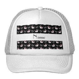 Personalized name black bowling pattern trucker hat