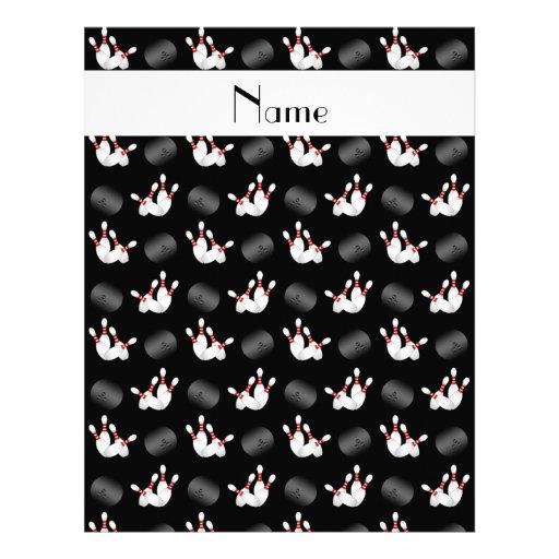 Personalized name black bowling pattern letterhead