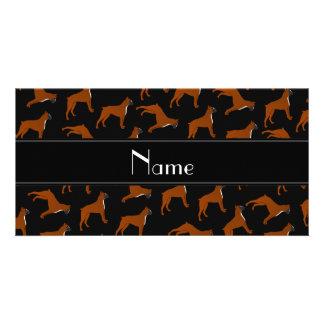 Personalized name black boxer dog pattern photo card