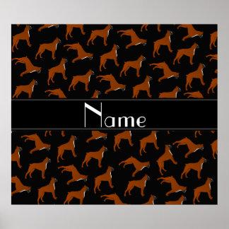 Personalized name black boxer dog pattern poster