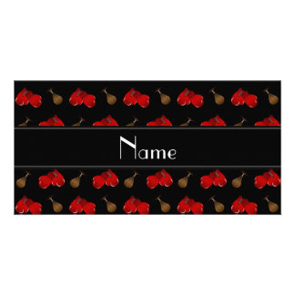 Personalized name black boxing pattern photo card