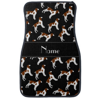 Personalized name black brittany spaniel dogs car mat